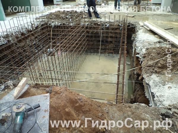 Гидроизоляция в торговом центре РИО. Гидроизоляция монолитного бетона фото. Пенетрон Адмикс.